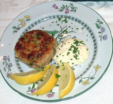 crab cake salmonburger plated