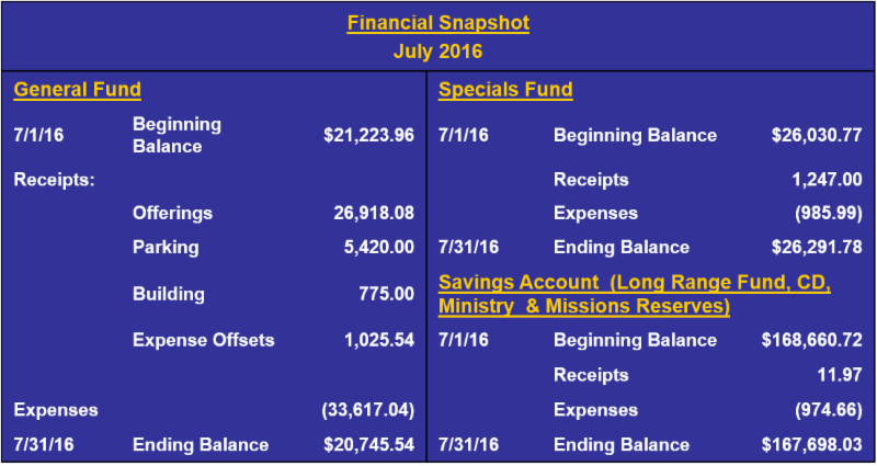 July 2016 Financial Snapshot