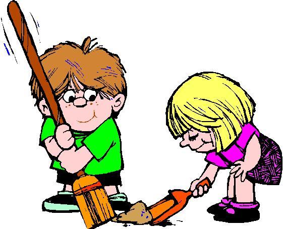 cartoon kids sweeping