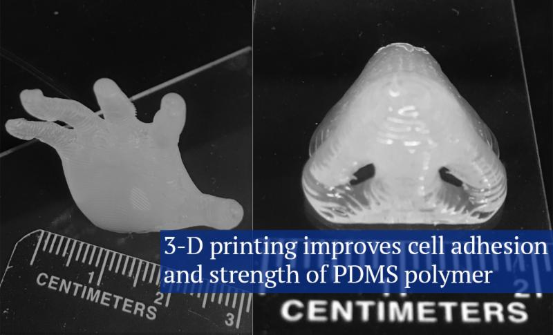 3-D printing improves cell adhesion and strength of PDMS polymer