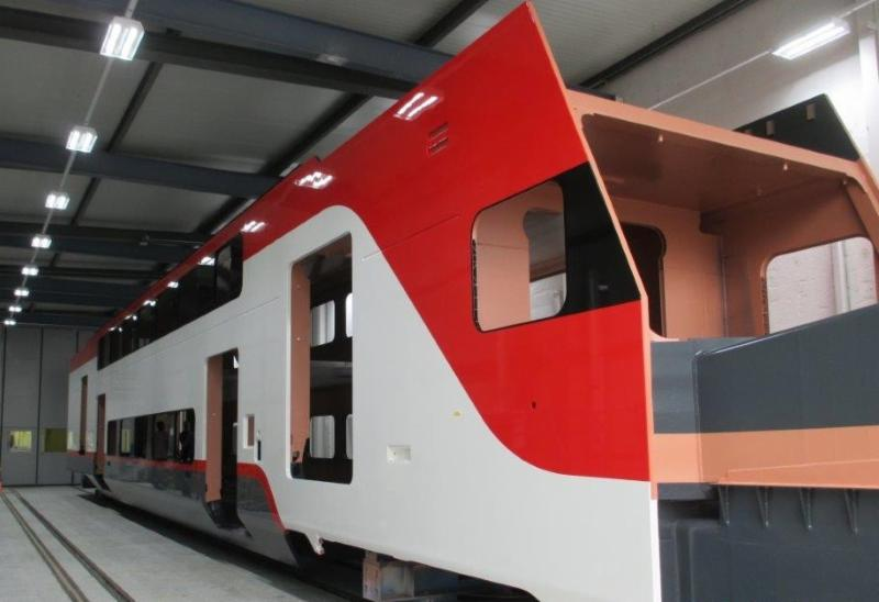 Exterior paint applied on first trainset cab.