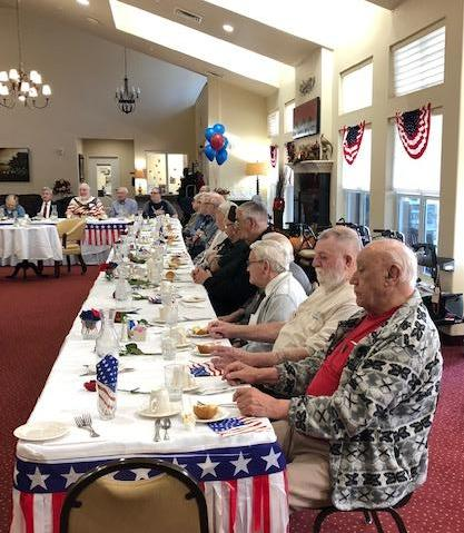 Veterans enjoying holiday meal