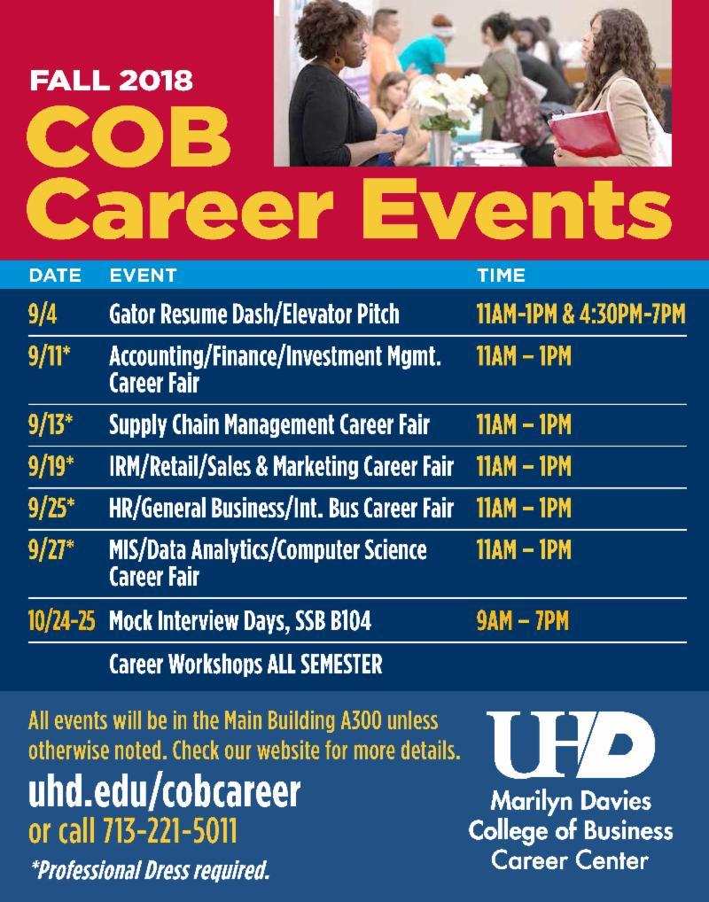 Fall 2018 COB Career Events