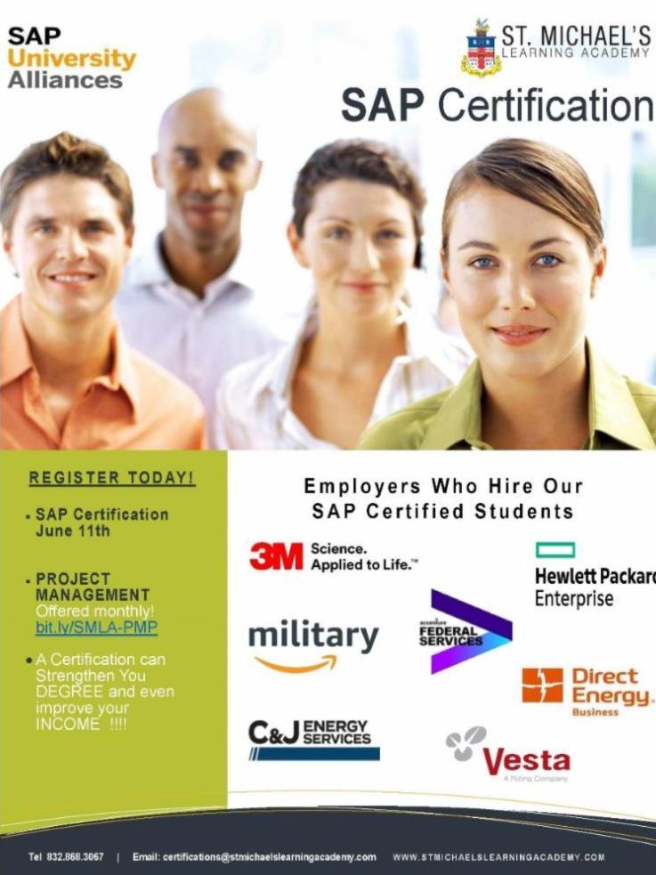 SAP certification flyer