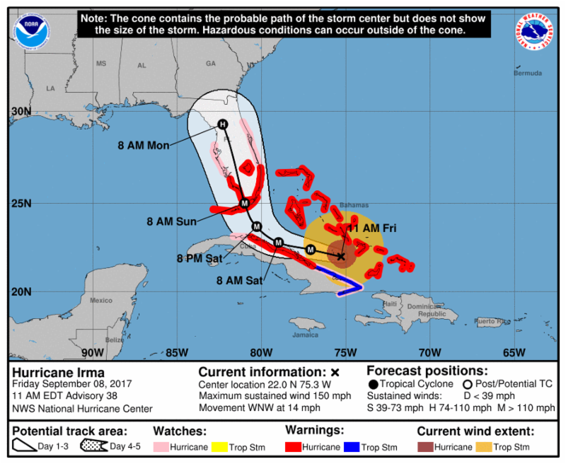 NOAA Coastal Watches_Warnings and Forecast Cone for Storm Center