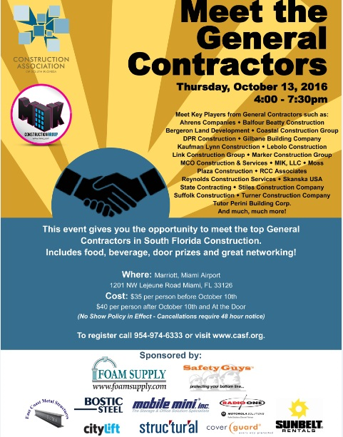 Meet the General Contractors - Oct  13