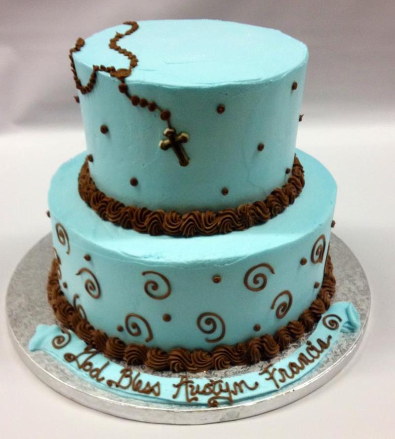 Blue rosary Baptism or Communion Cake