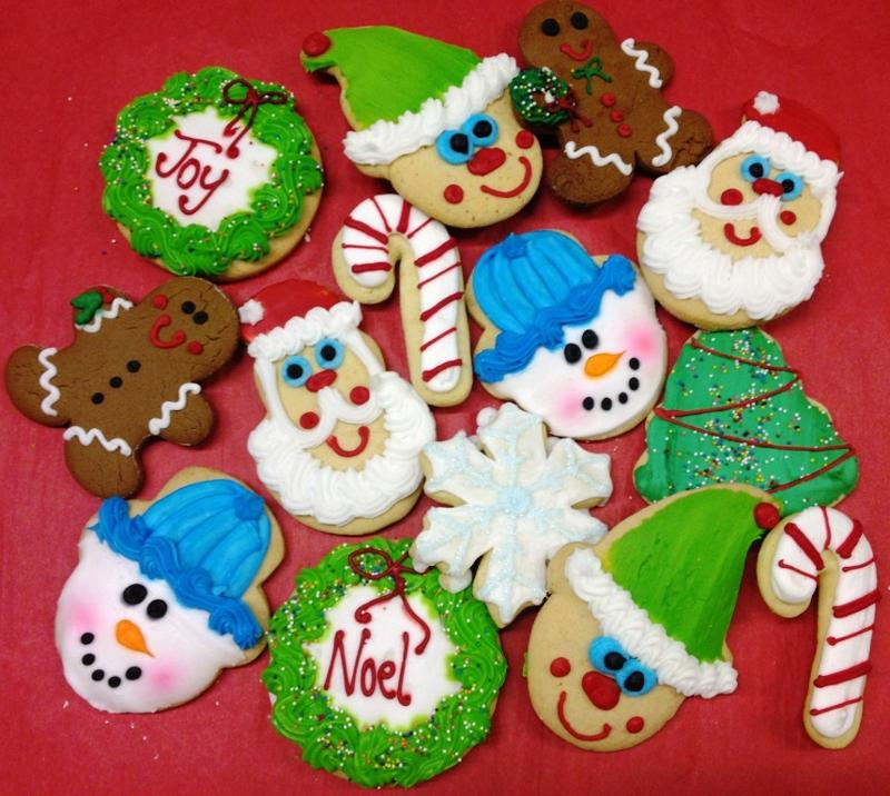 Santa, Snowman, Wreath large cookies