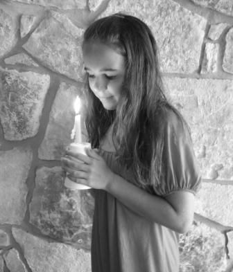 girl with candle bw