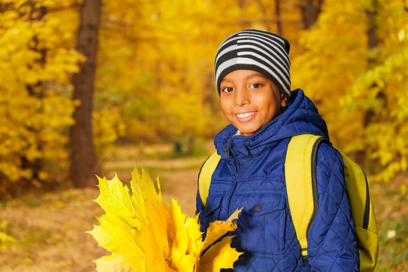 Portrait of cute happy African boy with bunch of yellow maple leaves standing in the forest during daytime