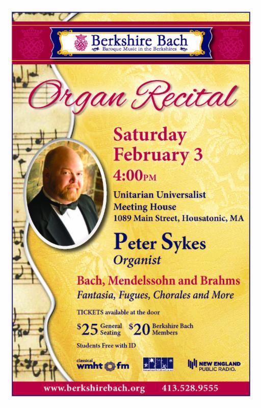Berkshire Bach Society - Organ Recital, Feb. 3 at 4pm