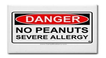 Danger No Peanuts Severe Allergy