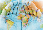 Project Overseas logo - hands holding the world