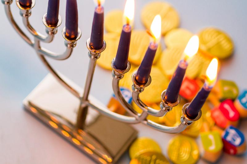 A still life composed of elements of the Jewish Chanukah Hanukkah festival.     Note  Slight graininess, best at smaller sizes