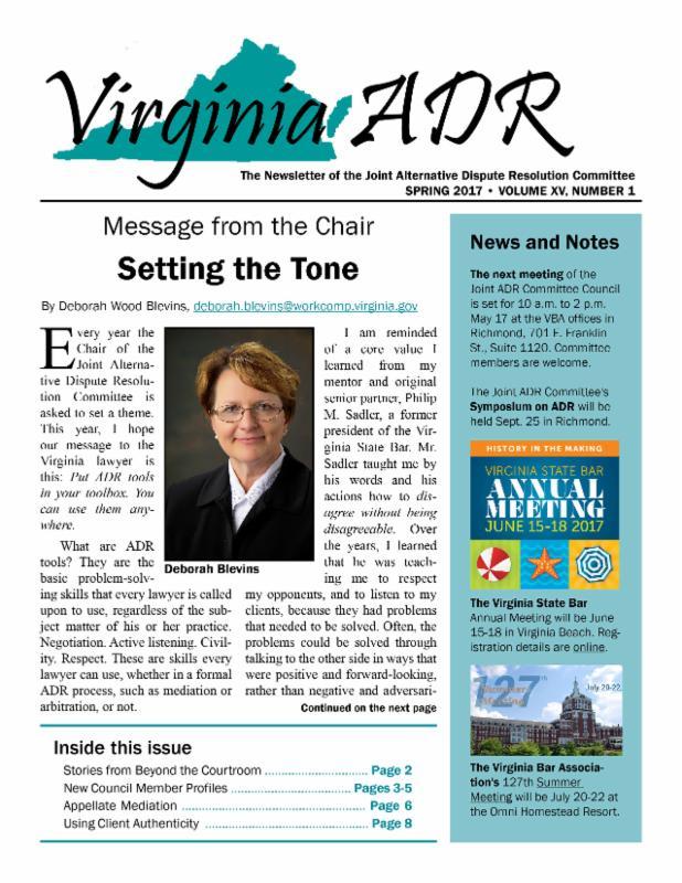 Cover-Spring 2017 Virginia ADR newsletter