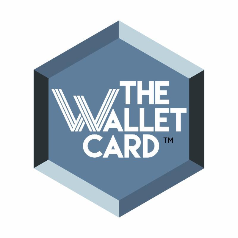 The Wallet Card Logo.  A blue hexagon with the words the wallet card in the hexagon.