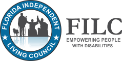 florida independent living council logo with the words in a circle that surround a person with a service animal and two people sitting in wheelchairs.  next to the letters FILC and the words empowering people with disabilites