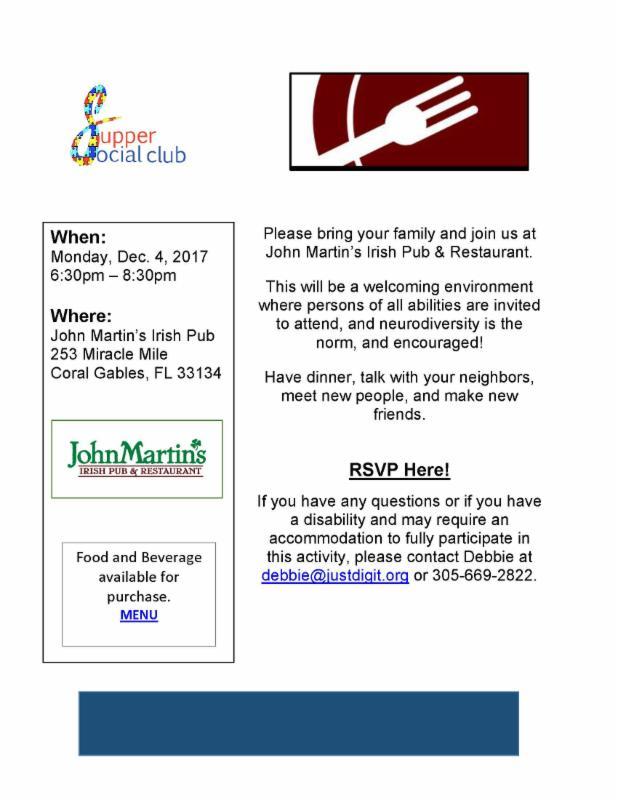 flyer for supper social dinner.  Dec. 4, 2017, at John Martin's Irish Pub in Coral Gables, FL.
