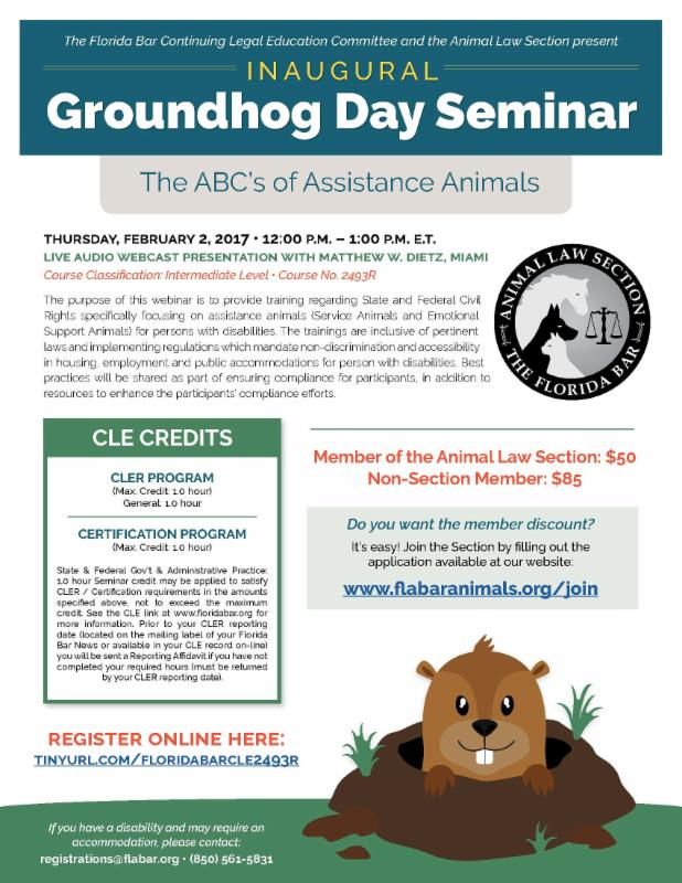 Flyer for the FL Bar Animal Law Section Groundhog Day Seminar