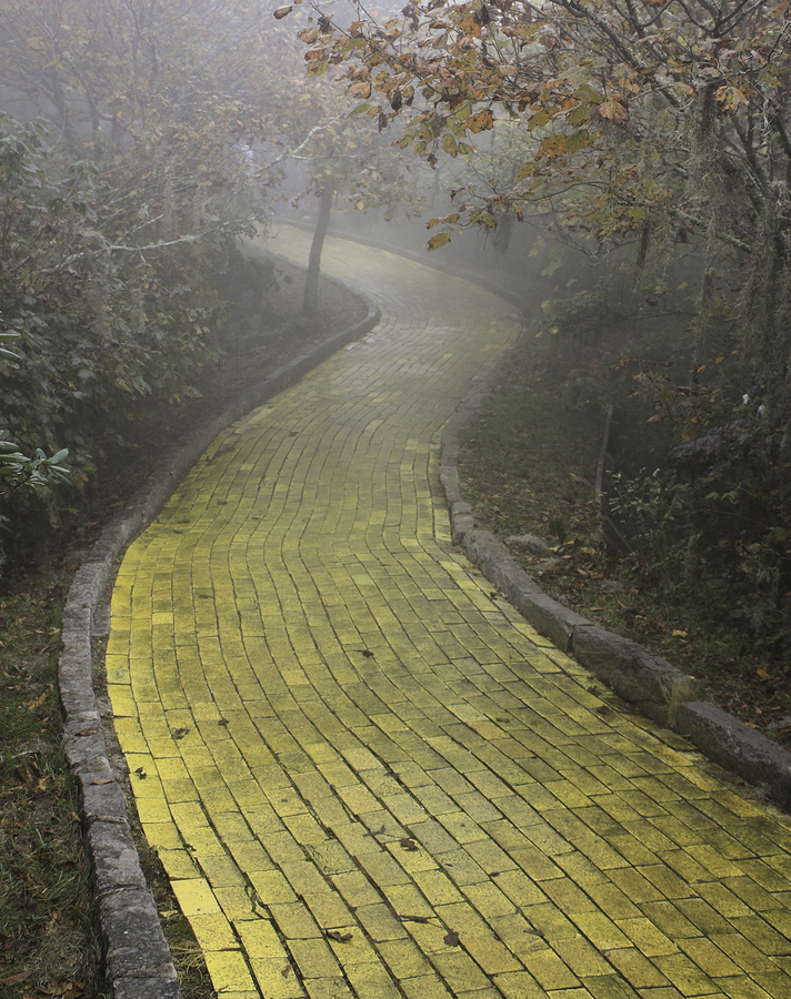 Yellow Brick Road winding through the forest, Beech Mountain, NC
