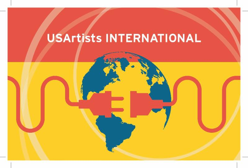 The text USArtists International on the top third in white on orange. A silhouette of the earth in blue fills the center. The bottom two-thirds are yellow.  Two ends of a plug, in orange, meet in the middle across the earth.