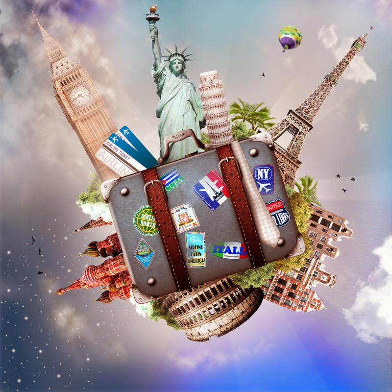 Travel and tourism, collage with the world s sights