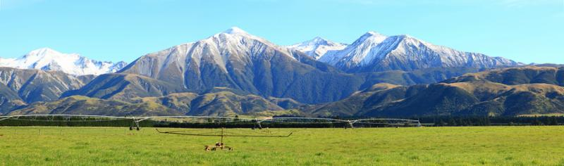 panorama of great southern alps in New Zealand