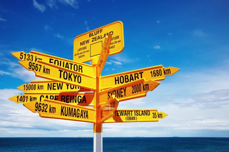 Signpost in the Stirling Point Bluff New Zealand. Most southern mainland point of New Zealand