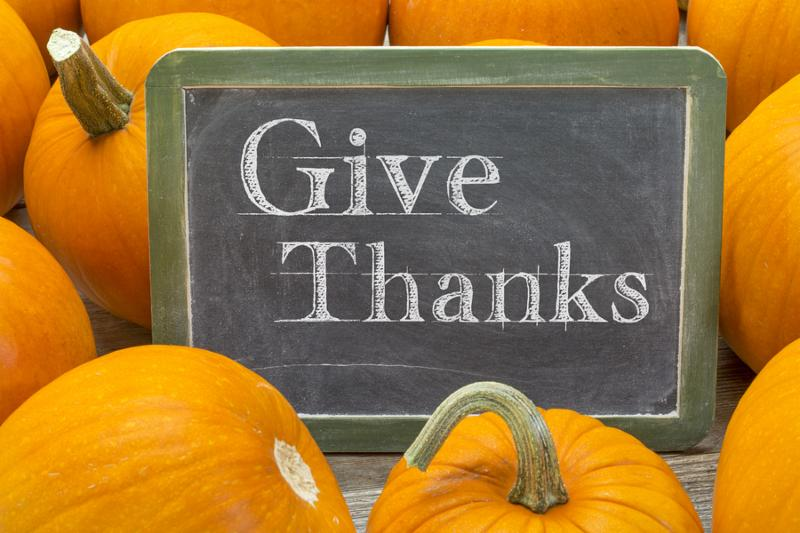 give thanks - Thanksgiving concept - words in white chalk on a blackboard surrounded by pumpkins