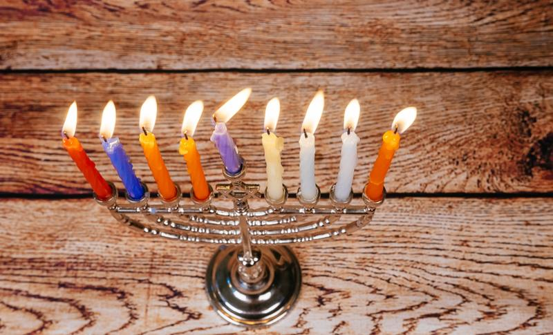 Hanukkah menorah with candles Hanukkah candles happy burning