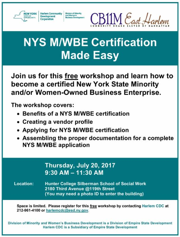 Nys Mwbe Certification Made Easy Thursday July 20 2017 930 Am