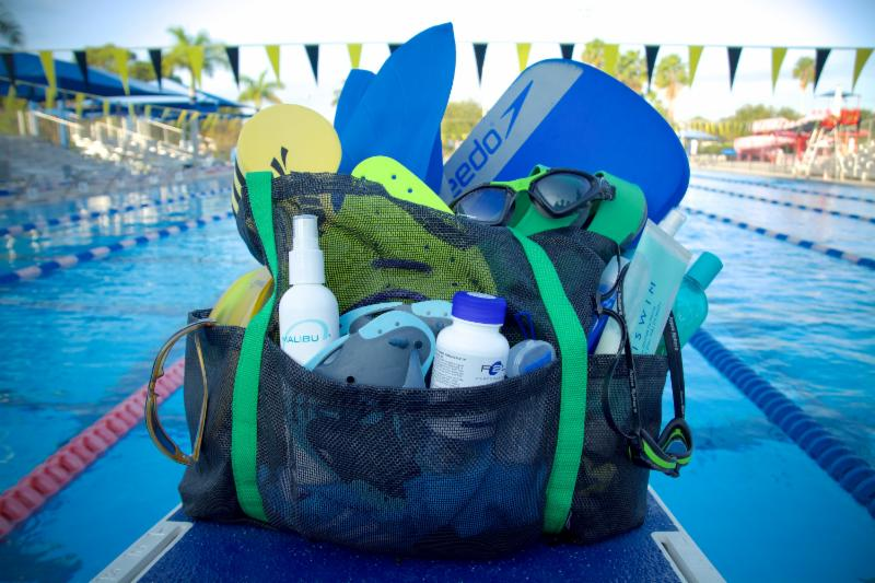 Swim bag stuffed with gear