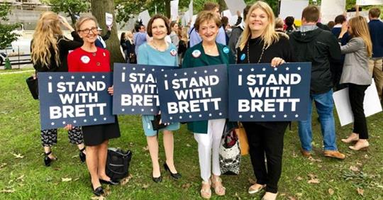 Pictured above are Merrylynn Gerstenschlager, Anne Schlafly Cori, Cathie Adams and Cindi Castilla who joined a rally hosted by Concerned Women for America to support the confirmation of Brett Kavanuagh.