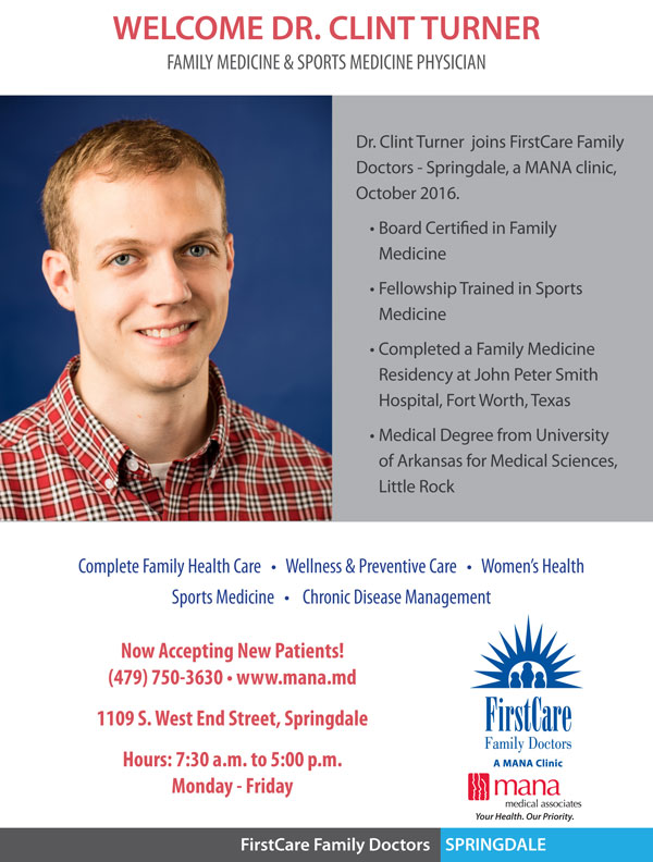 Welcome Dr  Clint Turner, Family & Sports Medicine