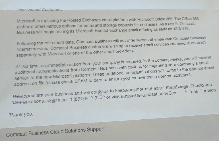Comcast Replaces Exchange Mail with Office 365 - Get Help Now!