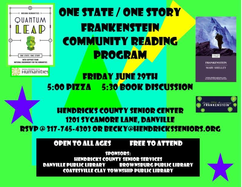 frankenstein community reading program friday june 29 5 pm