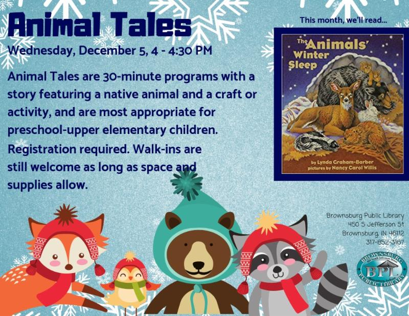 animal tales wednesday december 5 4 pm