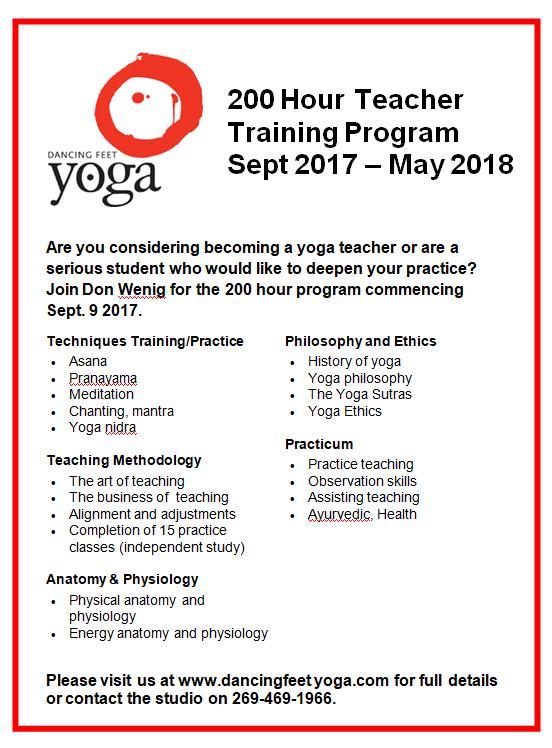 2017 200 hour Teacher training/advanced study program
