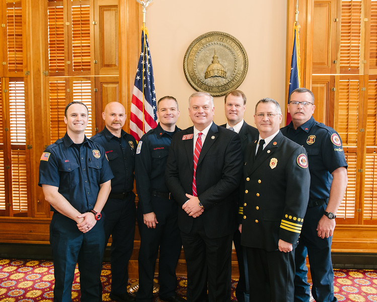 Rep Micah Gravley and Firefighters