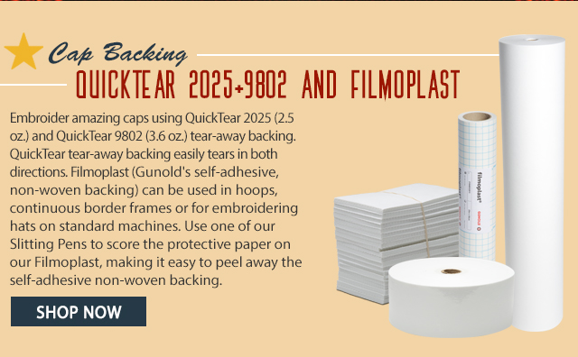 cap backing quicktear 2025 and 9802 and filmoplast