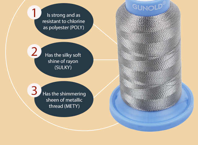 strong and chlorine resistant as polyester has the silky soft shine of rayon has the shimmering sheen of metallic thread