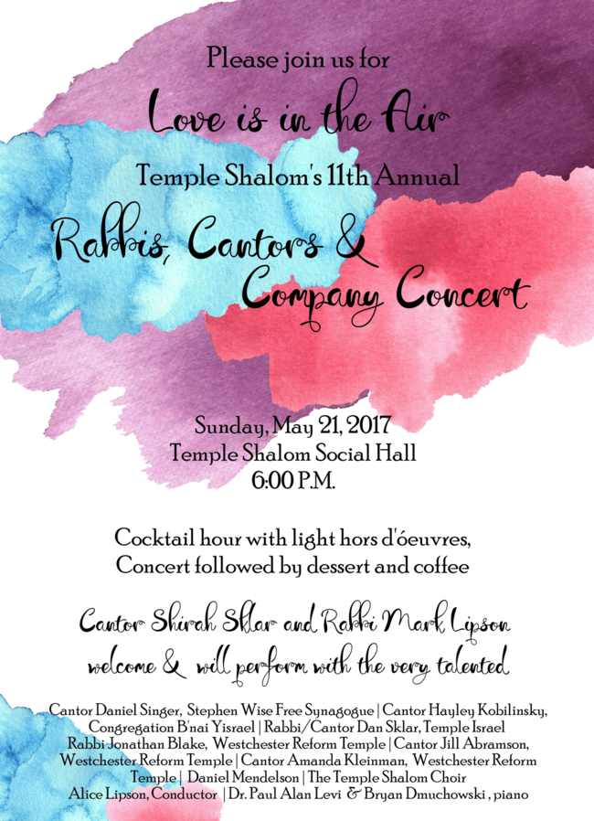 Temple Shalom Rabbi Cantors And Company Concert