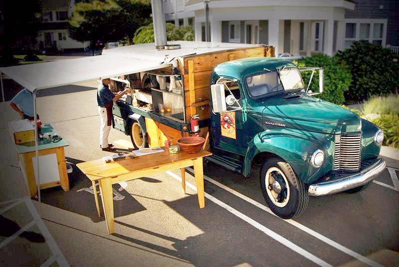 Green truck wedding
