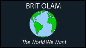 Text _Brit Olam_ The World We Want_ with an image of a globe