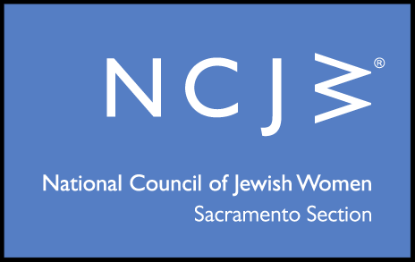 Logo _ Text_ _NCJW_ National Council of Jewish Women_ Sacramento Section__ on a blue background