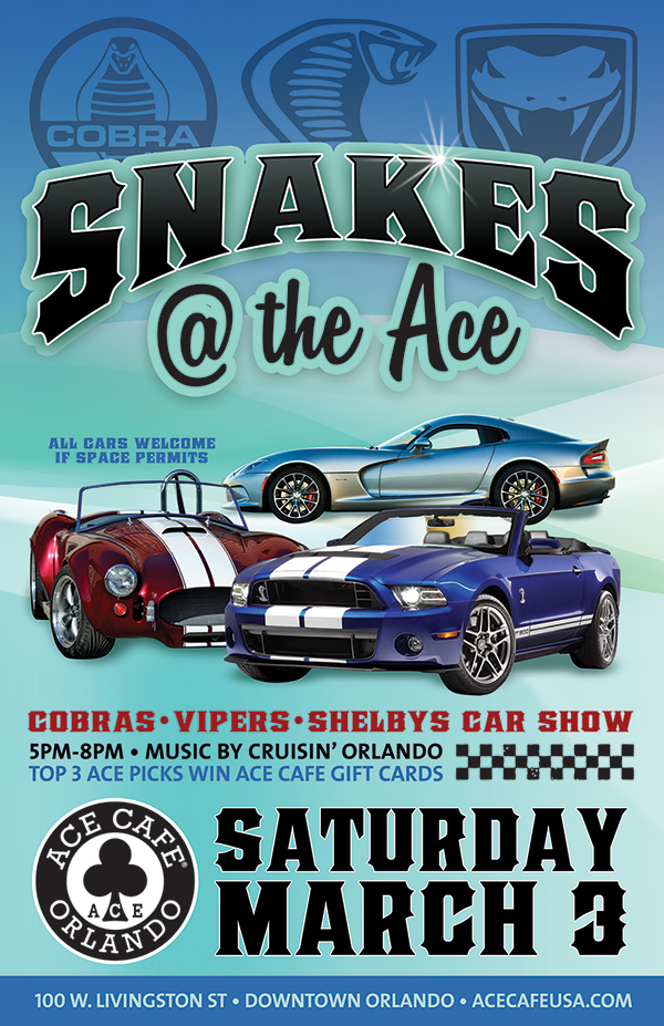 ACE CAFE Snakes At The Ace With DJ Don From Cruisin Orlando Tampa - Ace cafe orlando car show