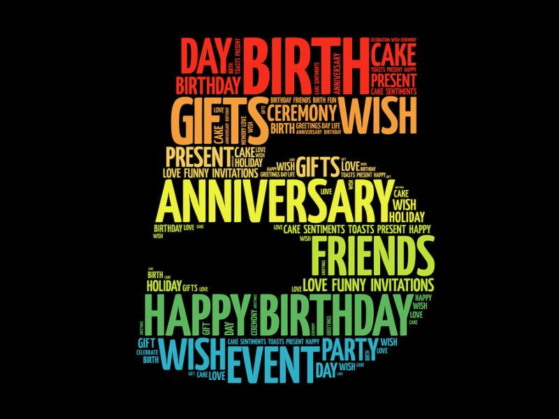 Happy 5th birthday word cloud collage concept