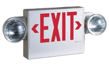 Exit sign with lights on each side