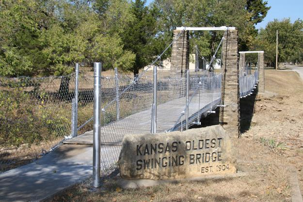 Kansas oldest swinging bridge