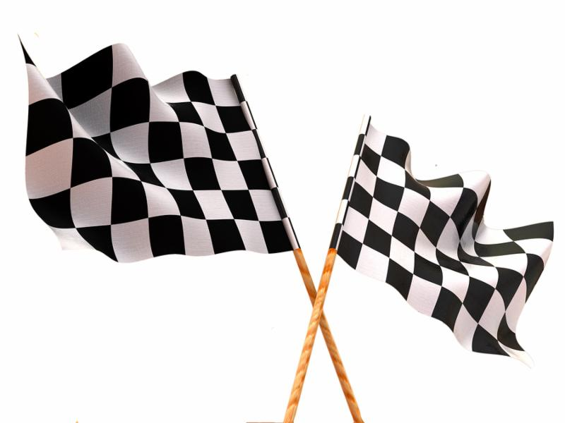 Checkered flags. 3d Very beautiful three-dimensional illustration figure.